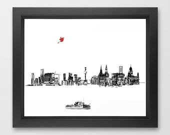 Liverpool City Skyline  Fine Art Print, Modern, Decor, Wall Art, City, Home Decor, skyline , UK, England