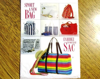 DESIGNER Sport Bag, Backpack, Tote, Duffle Bag, Fanny Pack, Cosmetic Case Pattern - UNCUT ff Vintage Sewing Pattern Butterick 6678 / 251