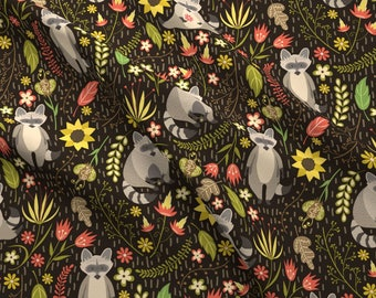 Raccoons Fabric - Raccoons By Juliabadeeva - Raccoon Woodland Floral Cotton Fabric By The Yard With Spoonflower