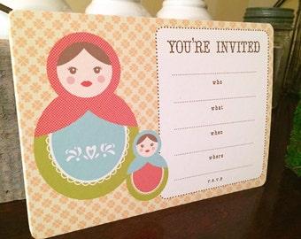 Fill-in Matryoshka doll invitation, Russian nesting doll party invitation, Baby shower invitation