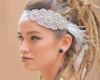 bridal feather hairpiece, Bridal Headpiece, Crystal Feather Headpiece, Wedding Headpiece, Bridal Accessories, Wedding Accessories