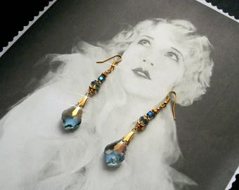 BAROQUE Style earrings Blue Crystal for wedding, birthday, gift