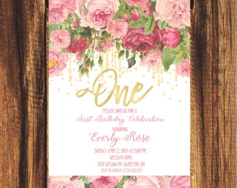 Floral and Gold First Birthday Invitation//FREE SHIPPING// Whimsical, Girls Birthday, Baby Shower, Bridal Shower, First, Second, Third