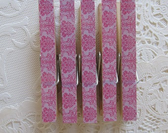 Pink Damask Decorative Clothes Pins