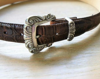 1990's Brighton Belt Silver Tone Buckle Heart Rivets Western Style Brown Croco Size Small