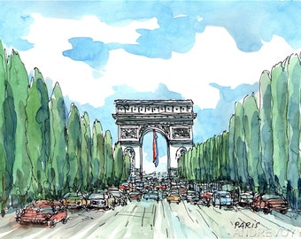 Paris Champs-Elysees art print from an original watercolor painting
