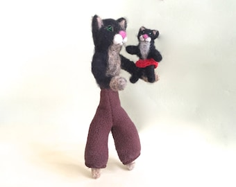 Father day gift from daughter to dad needle felted cat figurine father daughter cats cake topper cats love kitten wool red cute unique black