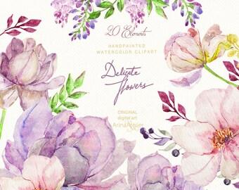 Delicate Flowers Watercolor Clipart - Colorful Spring Flowers Clipart -Clipart, Wedding Flowers, Wedding Invitation, DIY Invitations, Prints