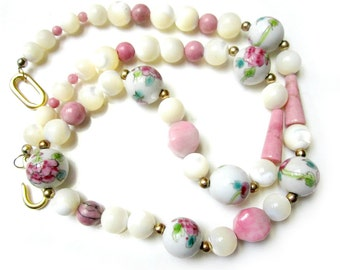 Vintage Glass Beaded Necklace Pink Painted Rose Gemstone Necklace Vintage Mother of Pearl Painted Glass Necklace 20""