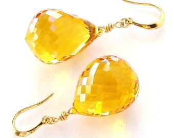Sale Yellow Citrine Gold Earrings Sunshine. Gold earrings. Statement jewelry