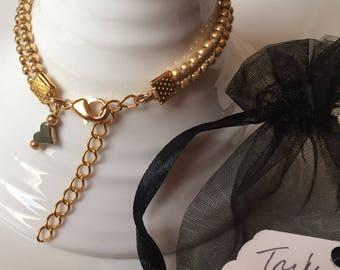 Handmade gold braided seedbead bracelet with heart charm by Truly Toogood