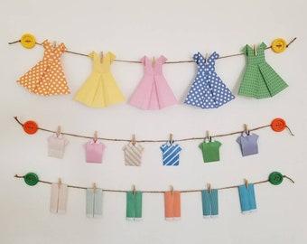 Laundry room decor-Laundry decor-laundry room wall decor-origami-paper origami clothes-girls room wall decor-fun wall decor-home wall decor