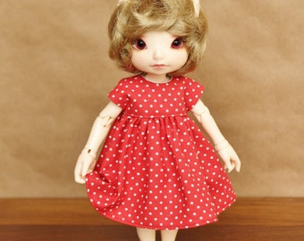 Red Polka Dot Dress for Fairyland Realfee, Lati Yellow SP, and Blythe Dolls | Red and White Dotty Doll Dress