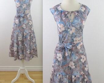 Twilight Floral Midi Dress - Vintage 1970s Sleeveless Drop Waist Dress in Large