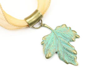Verdigris leaf necklace, Green leaf pendant, Metal leaf necklace, Boho jewelry, Botanical jewelry, Nature inspired jewelry, Gift for her