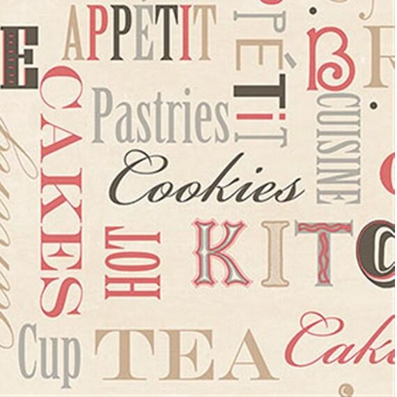 Black White Kitchen Wallpaper: Guten Appetit Gedämpft Rot / Off Weiße Küche Tapete Kekse