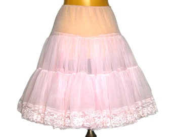 Vintage Soft PINK Petticoat / Crinoline Skirt / Sheer Nylon and Lace / Full Circle Skirt / Rockabilly / Malco Modes Square Dance Skirt