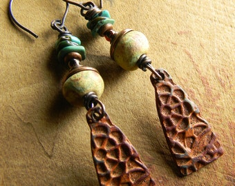 Tribal Copper Earrings Turquoise Ethnic Rust Pale Green Artisan Ceramic