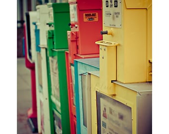 newspaper boxes photography / news, printed word, paper, nostalgia, vintage tones / extra extra / 8x10 fine art