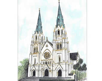 The Cathedral of St. John the Baptist Savannah Watercolor Art Print Drawing