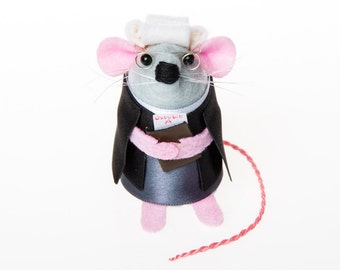 Lawyer Mouse - collectable art rat artists mice cute artisan soft sculpture toy stuffed plush doll gift for lawyer law student graduate