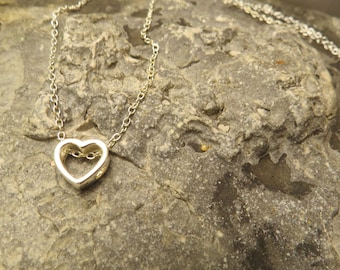 Sterling Silver Heart Necklace, love, modern, minimalist, sterling silver, charm, bridal jewelry, gift