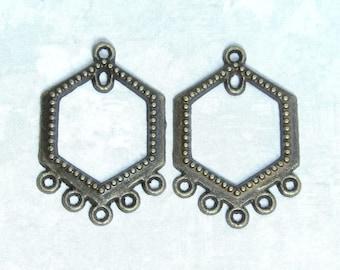 Antiqued Brass Earring Chandeliers Hexagon Chandelier Earring Findings Chandelier Connector