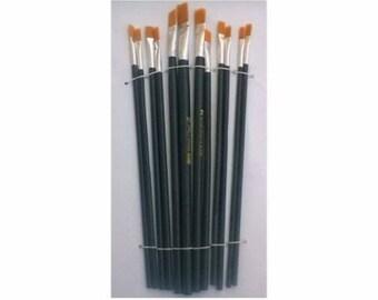 Set of 12 flat brush brushes