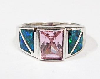 Vintage Sterling Silver Pink Ice & Inlaid Opal Ring