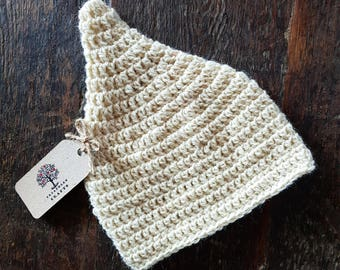BABY PIXIE Hand Crochet Fairy Elf Pointy Natural 100% Pure Shetland Wool Baby Knit Woolly Hat 0-3 Months Boho