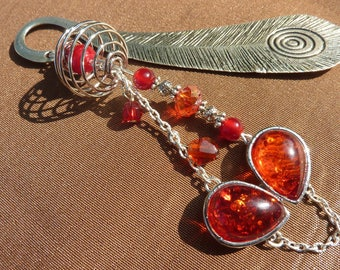 "Large bookmark ""red silver leaf"" jewelry"