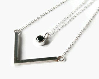 Long layered necklace Layering necklace set Sterling silver necklace double strand necklace layer necklace silver chevron necklace black CZ