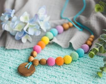 Double Aqua Rainbow Wood Nursing Necklace / Teething Necklace - Chewable Mommy Necklaces - Juniper Wood - Kangaroo Care