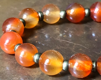 Natural Carnelian Beads (6mm) and Bronze