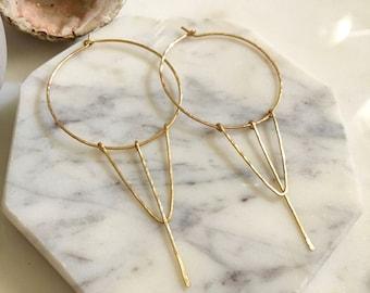 Geometric hoop earrings, gold wire hoop earrings, circle earrings, triangle earrings, minimalist hoop earrings, minimalist earrings
