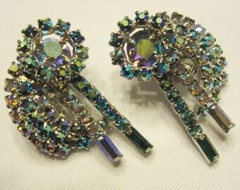 Teal Green and Clear Rhinestone Clip-On Earrings