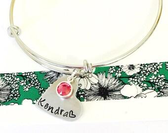 Personalized Bangle Bracelet, Name Bracelet, Birthstone Bracelet, Personalized Bracelet, Costume Bracelet