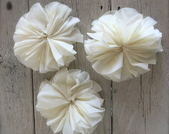 "New-IVORY BALLERINA FLOWERS -set of Three----2 3/4"" inches wide"