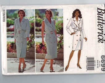Misses Sewing Pattern Butterick 6699 Misses Military Styled Button Front Coat Dress Size 6 8 10 12 Bust 30 31 32 33 34 UNCUT
