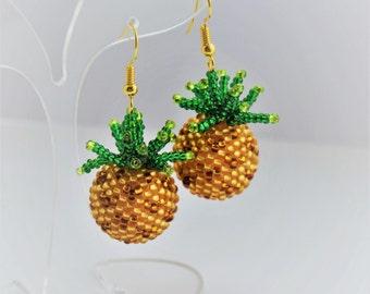 Gold Pineapple earrings Fruit earrings food jewelry Boho Jewelry Handmade earrings Fruit jewelry Gift|for|Her Boho jewelry Funny earrings