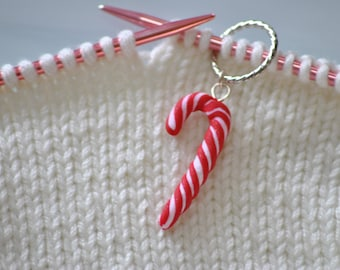 Hand made Candy Cane Polymer Clay Stitch Markers for Knitting - Set of 5