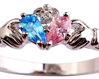 Simulated Pink and Blue Topaz Claddagh Ring