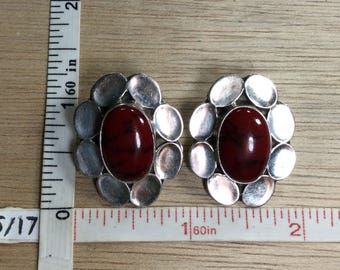 Vintage 925 Sterling Silver 18.3g Red Jasper Clip On Earrings Used