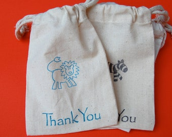 Safari / Zoo Animals Muslin Bags / Set of 10 / Birthday Party Favors