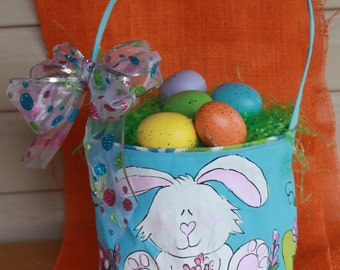 Easter Basket, hand painted, blue, bunny
