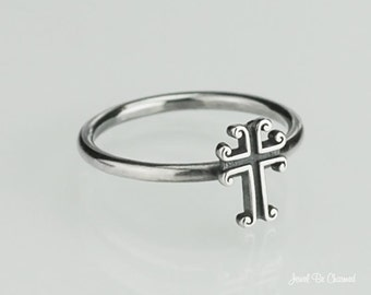 Scrolled Cross Ring Solid .925 Sterling Silver Christian Custom Sizes