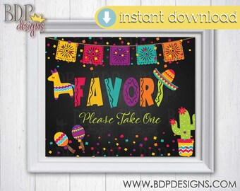 PRINTABLE INSTANT DOWNLOAD Favors Bridal Shower Birthday Party 8x10 Sign Graduation fiesta, Mexican party decoration Baby Shower Printable