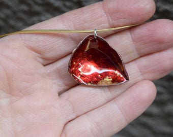 Ruby Red Pendant. Enamel on Copper and Gold