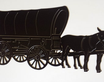 Covered Wagon With 2 Mules Metal Sign Powder Coated or Raw Steel