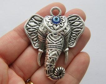 1 Elephant evil eye pendant antique silver tone A426